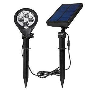 Amir® Solar Spotlight Wall lights Outdoor Garden- Waterproof, 180°angle Adjustable, Auto-on At Night/Auto-off By Day – Solar lights Outdoor Garden,Security Lighting, Path Lights, In-ground Lights, Landscape Light, Solar Flag Pole Light for Garden,Tree, Patio, Deck, Yard, Driveway, Stairs, Pool Area, Etc.(White)