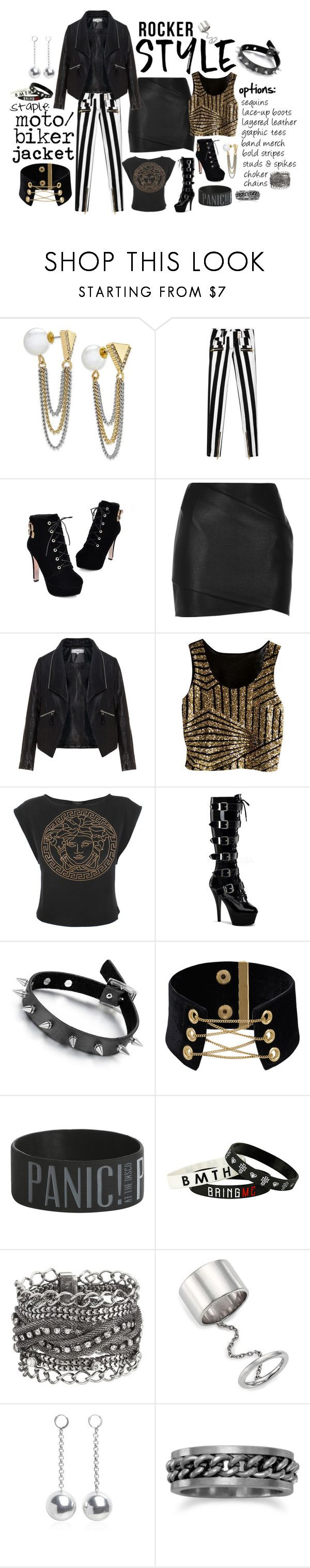 """""""Rocker Style: Moto/Biker Jacket Staple"""" by morningstar1399 ❤ liked on Polyvore featuring ABS by Allen Schwartz, Balmain, JY Shoes, River Island, Zizzi, Versace, Pleaser, maurices, Elizabeth and James and Isabel Marant"""