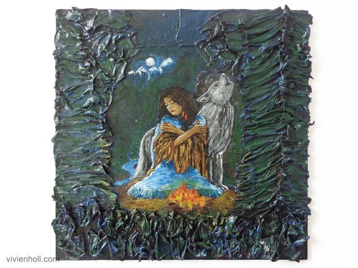 Moonlight (Holdfény) - Paverpol, 32 x 32cm, 2017  http://www.vivienholl.com/en/portfolio-items/paverpol-moonlight/  #paverpol #moon #moonlight #girl #wolf #forest