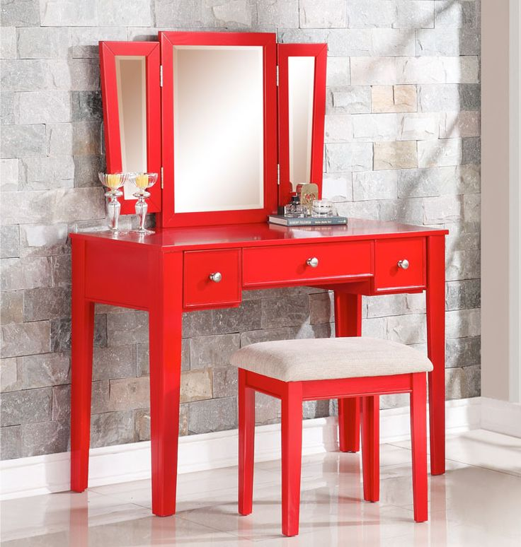 OC Furniture - Poundex F4107 Alicia Red Makeup Vanity Table with Mirror, $229.00 (http://www.ocfurniture.com/poundex-f4107-alicia-red-makeup-vanity-table-with-mirror/) #redvanitytable