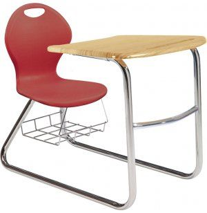 Inspiration Combo Chair/ Desk with a Modern and cool sled base: http://www.hertzfurniture.com/Student-Chair-Desks--Inspiration-Combo-Desk-Sled-Base--8108--mo.html