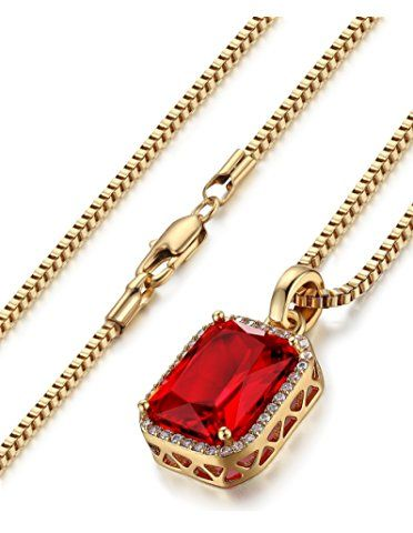 FIBO STEEL 2mm Iced Out Pendant Necklace for Men Women Box Chain Necklace Hip Pop, 24 inchs