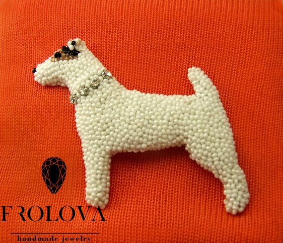Brooch Embroidery dog Who loves dogs dog от Frolovahandmade