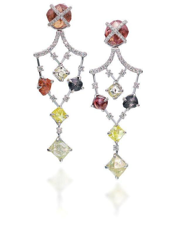 18.89ct colored rough diamond chandelier drop earrings accented by ...