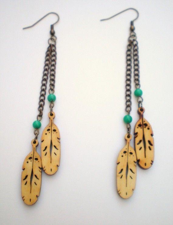 Long Wood Feather Earrings by DirdyBirdy on Etsy: Earrings 22, Feather Earrings, Wood Feather, Etsy, Earring Ideas, Wooden Earrings, Wood Jewelry, Dirdybirdy