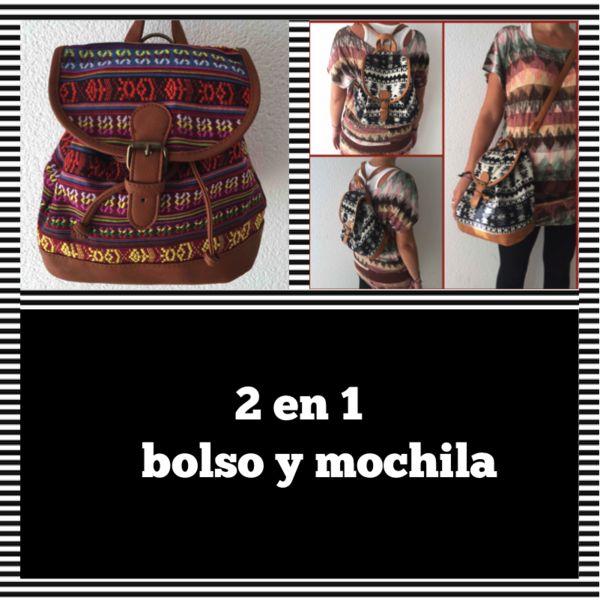 Mochilas - Bolso bandolera y mochila 2 en 1 - hecho a mano por pikmode en DaWanda