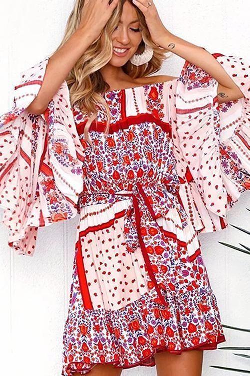 Casual Bohemia Printed Falbala Mini Dresses M Colorful Fashion, Boho Fashion, Spring Fashion, Fashion Dresses, Womens Fashion, Fashion Styles, Backless Maxi Dresses, Maxi Dress With Sleeves, Boho Mini Dress
