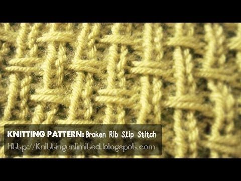 Knitting Stitches Broken Rib : HD Knitting Video: Broken Rib Slip Stitch (Burlap weave textured) knit stit...