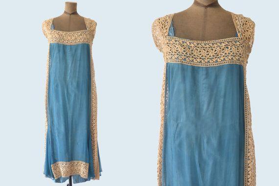 Edwardian dentelle et soie robe bleu Aqua