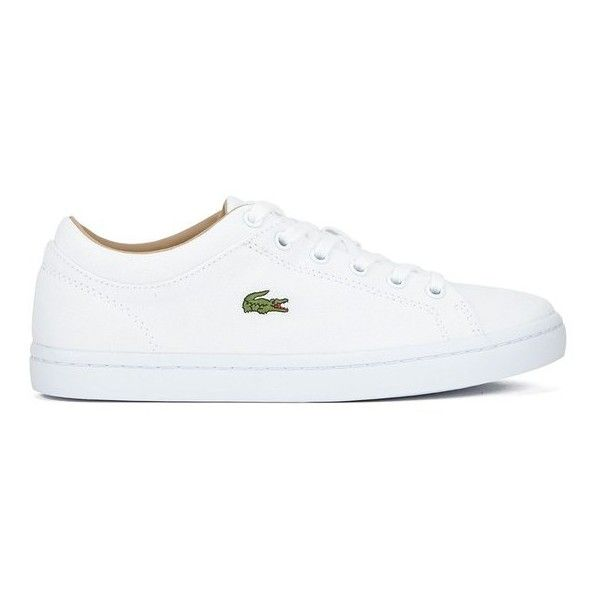 Lacoste Women's Straightset W Canvas Trainers - White (1,550 MXN) ❤ liked on Polyvore featuring shoes, sneakers, white, canvas sneakers, grip trainer, crocs shoes, crocs sneakers and white canvas sneakers
