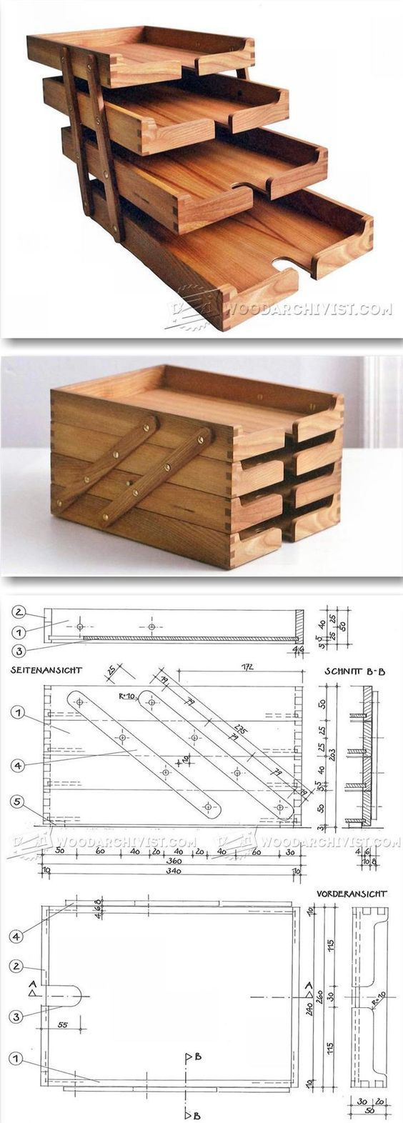 Viele viele Bauanleitungen aus Holz für:    Schatullen Stifte-/Briefhalter uvam. TOLL! ! ! !  Wooden Desk Tray Plans - Woodworking Plans and Projects | WoodArchivist.com