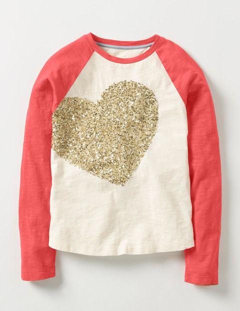 Pretty Sequin T-shirt (Ecru Gold Heart)