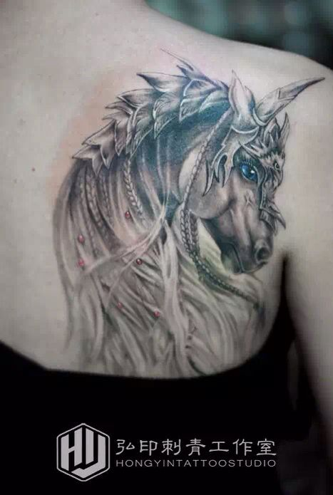 The unicorn tattoo   Girl's shoulder tattoo       HongYin-Tattoo Studio