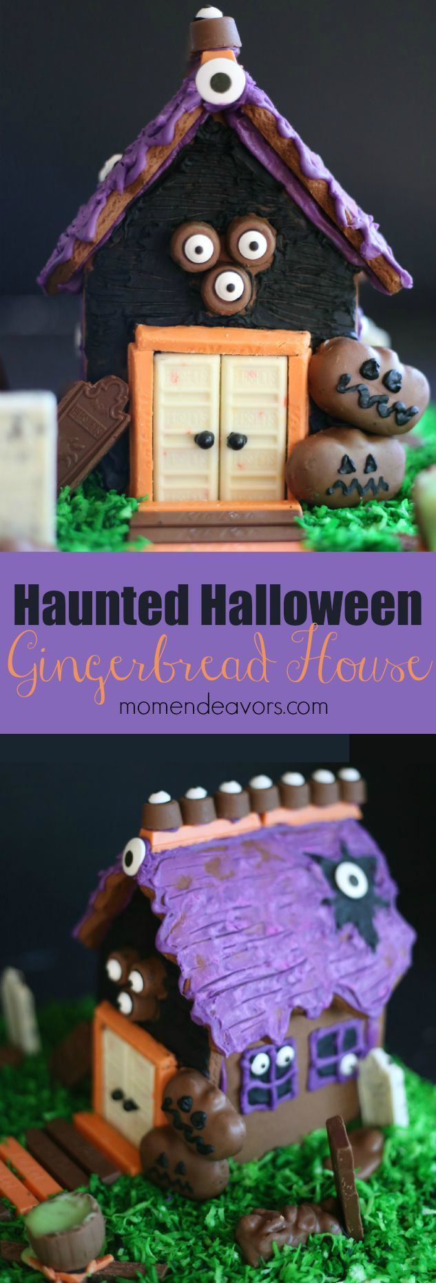 Halloween Candy Gingerbread House - such a fun way to use Halloween candy! #HersheysHalloween #sponsored