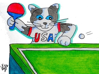 OLYMPIC TABLE TENNIS KITTY ACEO ON EBAY