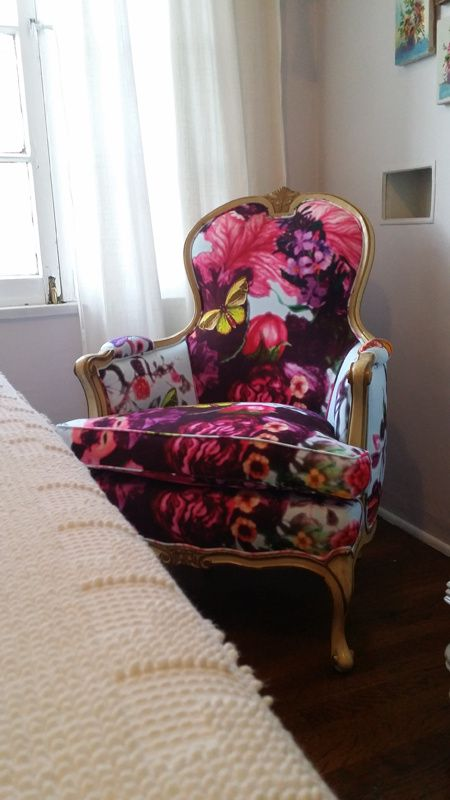 Vintage Chair Makeover With Timorous Beasties Butterfly Blur Fabric |  Before And After