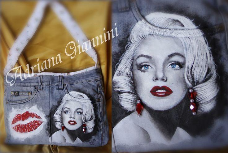 """Borsa """"Marilyn"""" dipinta a mano con orecchini pendenti applicati  € 45,00 + SP - info 3023087887"""
