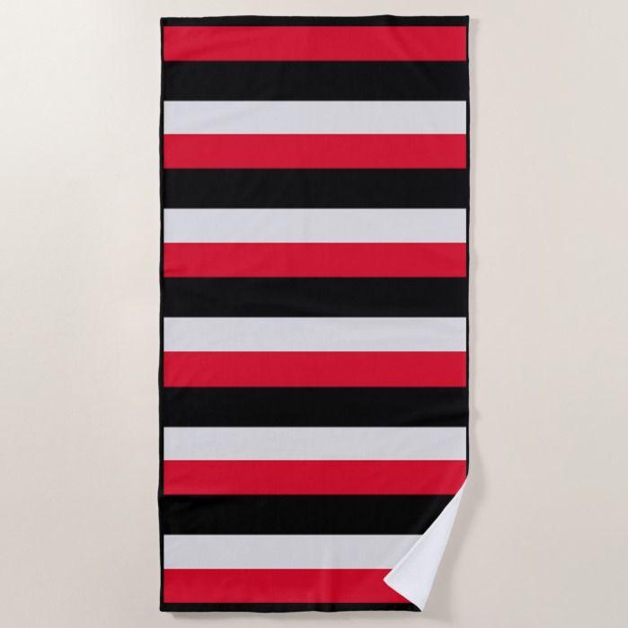 Bold Red Black Gray Striped Beach Towel Zazzle Com In 2020