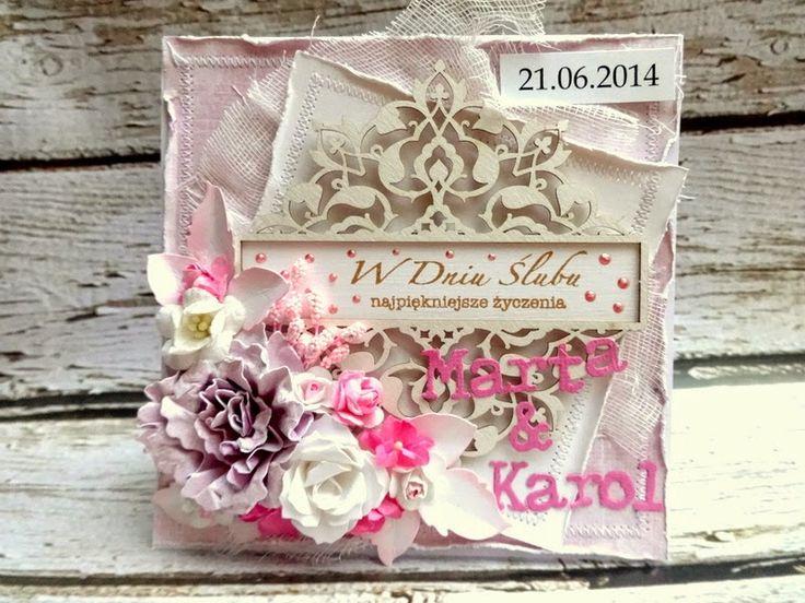 SZMEK - informuje, tworzy, inspiruje ...: Kartka ślubna w różu