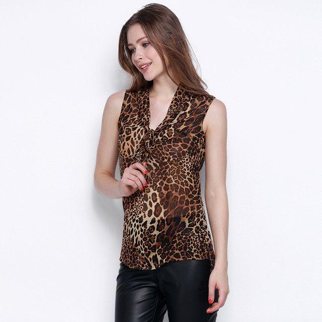 HDY Haoduoyi Fashion Leopard Tops Print Women Sleeveless Cold Shoulder Female Chiffon Shirts Street Slim High Low Blouses Shirts