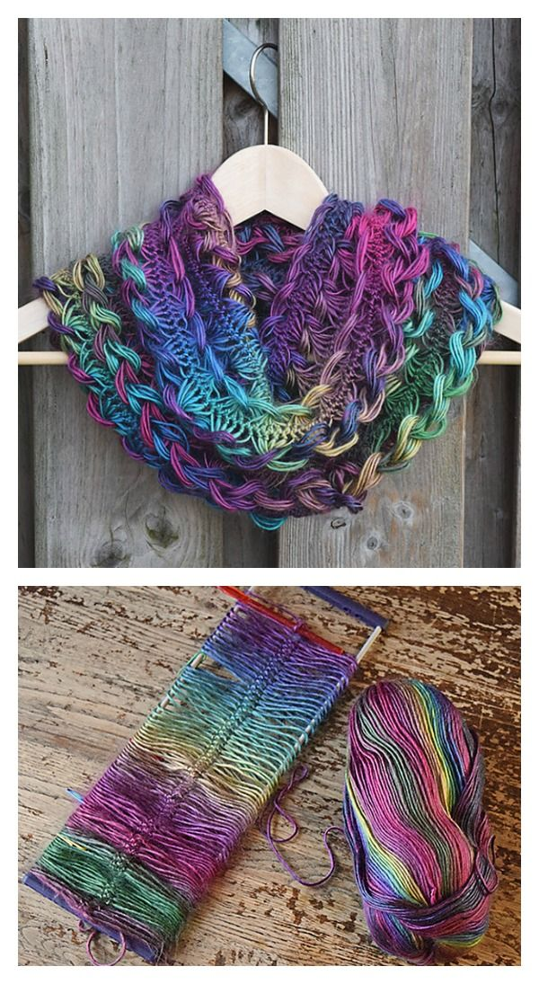 Crochet Rainbow Braided Hairpin Lace Infinity Scarf Free Pattern