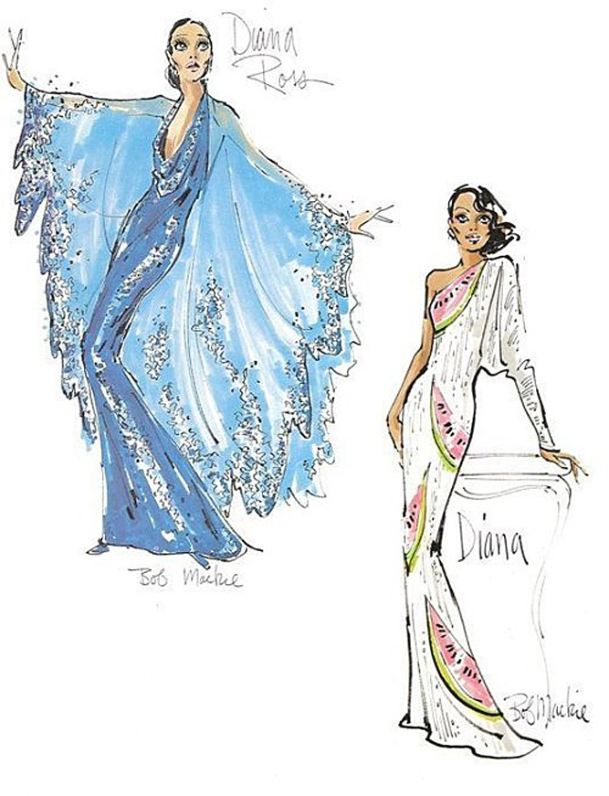 Bob Mackie sketches for Diana Ross