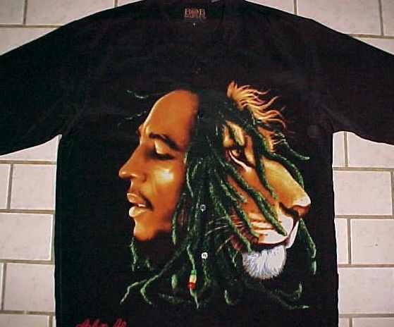 Bob Marley Lion Dragonfly Clothing Reggae Music Black Button Camp Shirt L #Dragonfly #ButtonFront