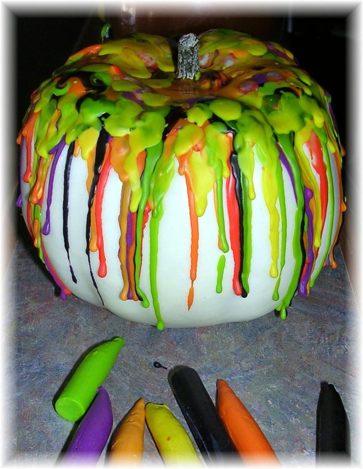 melted crayon pumpkin :)