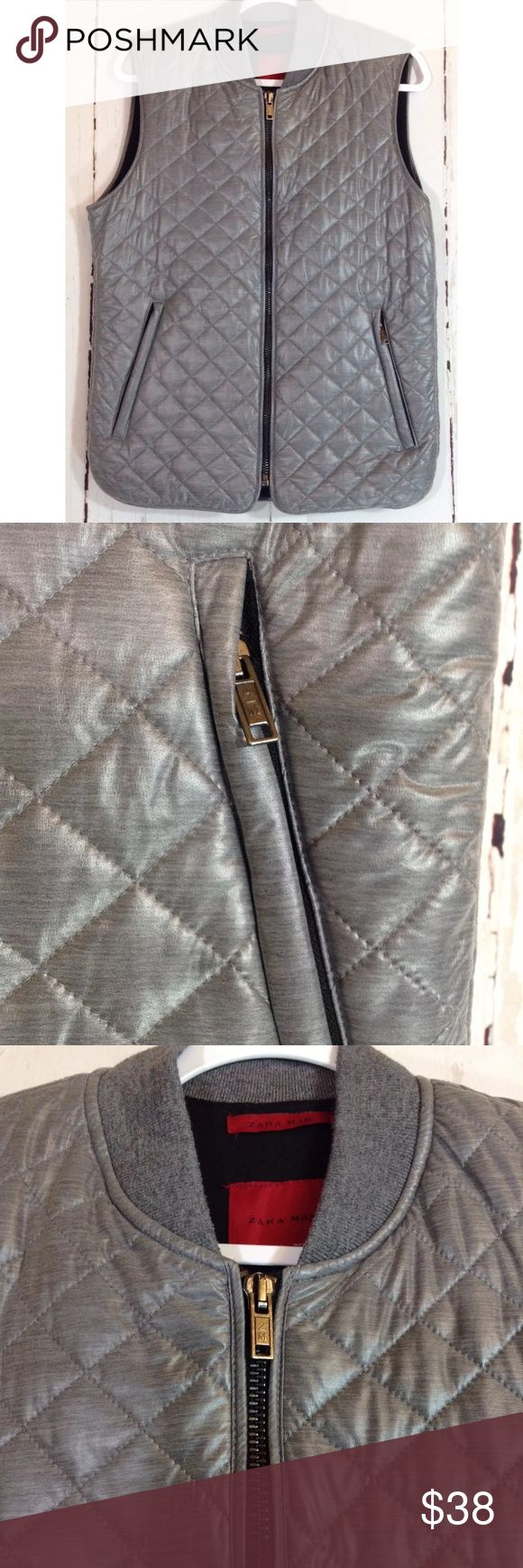 """Zara Man Silver Vest - Large Zara Man Silver Gray Quilted Zip Up Puffer Vest Jacket Size Large Zippered front pockets   Approximate flat measurements:  Chest: 19"""" Shoulders: 15.5"""" Waist: 20"""" Length from top of shoulder: 26"""" Zara Jackets & Coats Vests"""