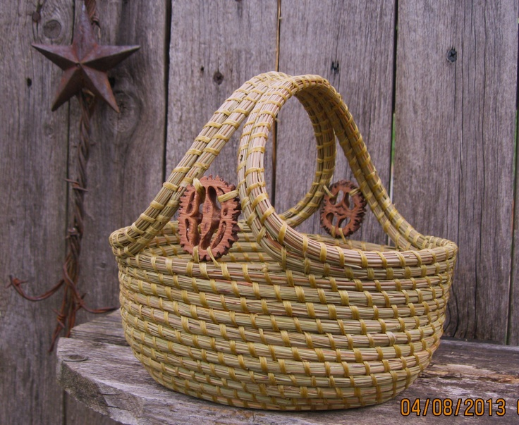 Coil Basket Weaving Patterns : Coiled pine needle basket with double handle and walnut