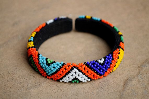 Beaded cuff banglecuff braceletBeaded by akwaabaAfrica on Etsy
