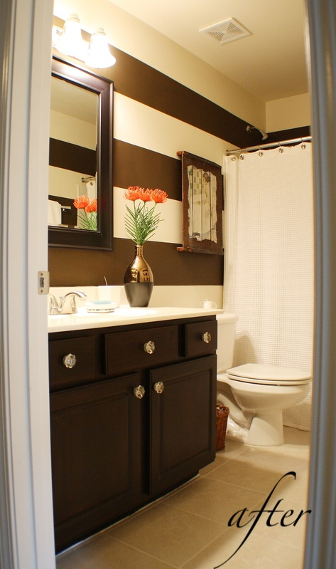 Cute simple bathroom i don 39 t enjoy painting strips but - Type of paint for bathroom cabinets ...