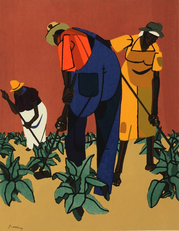 """Tobacco Farms,"" an original color serigraph by Robert Gwathmey (1903 - 1988) ~ Courtesy Tacoma Art Museum"