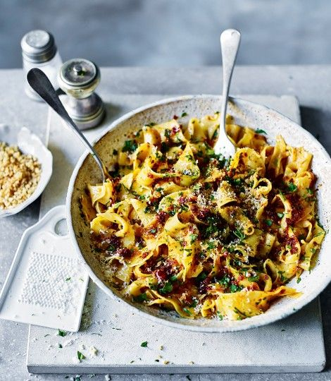 Sicilian lemon pappardelle with 'nduja and crunchy breadcrumbs