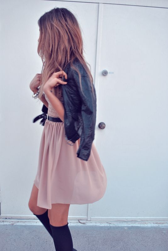 Love the combination of leather and soft pastel colors!!