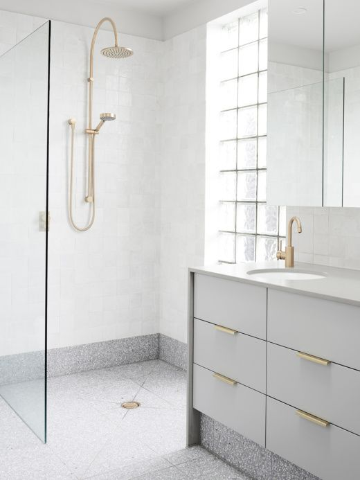 Love everything about this bathroom - light grey + gold