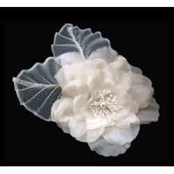 Bridal Silk Flower Fascinator Ivory