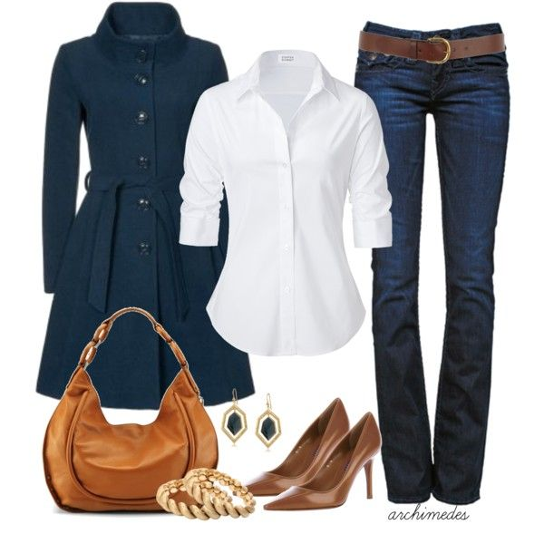 Blue and Brown: Fashion, Casual Friday, Style, Clothing, White Shirts, Jackets, Jeans, Fall Outfits, Coats