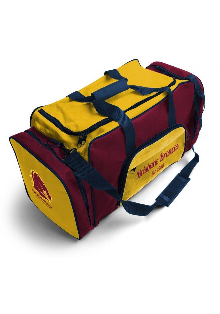 Brisbane Broncos NRL Team Logo Two Tone Sports Training Bag