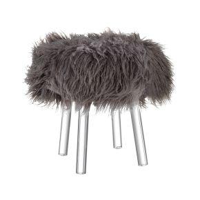 Sgabello Mascagni O1379   sgabello 'fur' in ecopelliccia con gambe in acrilico trasparente. dimensione: diam. 41x46