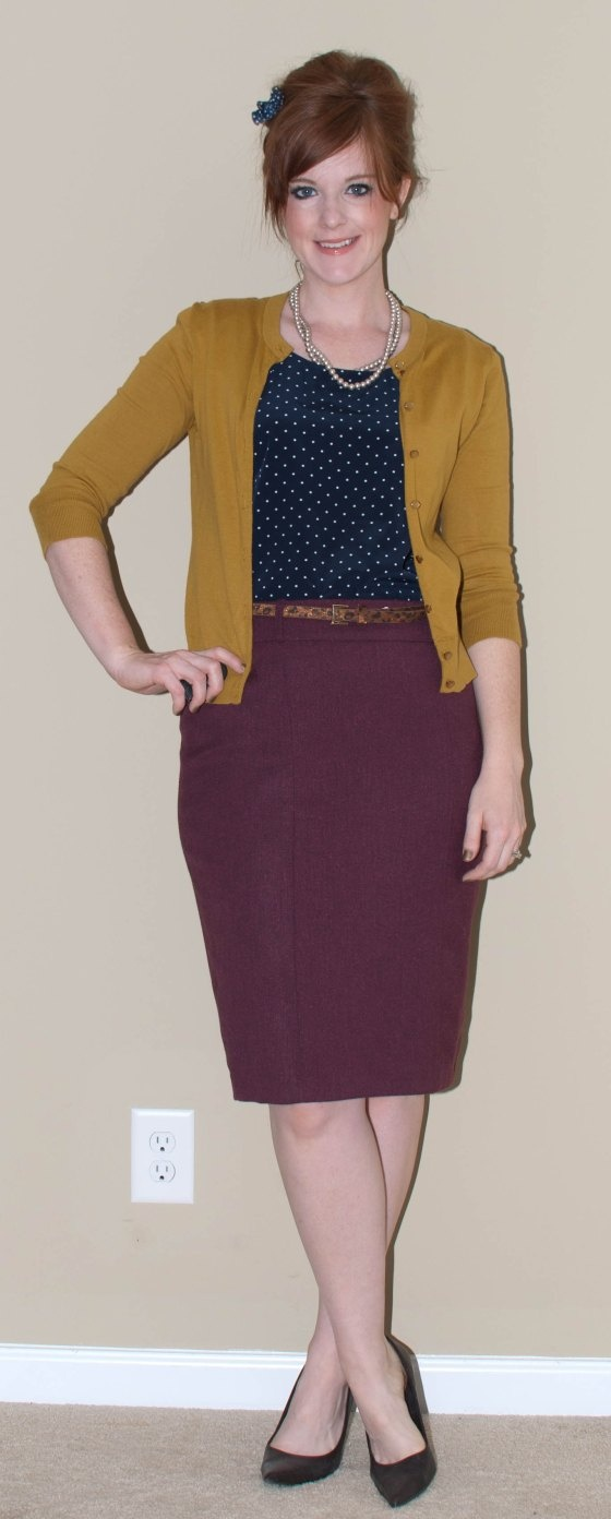 navy blouse, chartreuse/mustard cardigan, maroon/burgundy/plum/pink skirt