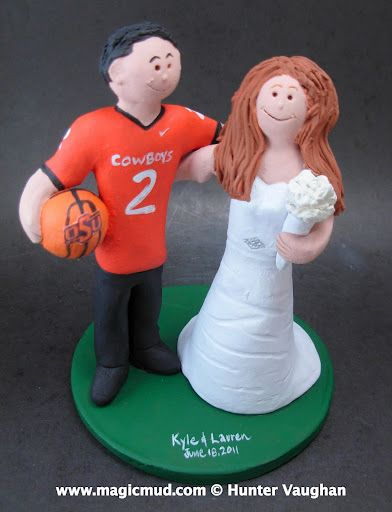 Oklahoma State University Wedding Cake Topper by http://magicmud.com/Wedding photos.htm magicmud@magicmud.com  1 800 231 9814  https://www.facebook.com/PersonalizedWeddingCakeToppers  https://twitter.com/caketoppers  #wedding #cake #toppers #custom#personalized #Groom #bride #anniversary #birthday#weddingcaketoppers#cake toppers#figurine#gift#wedding cake toppers#basketball#oklahomastate