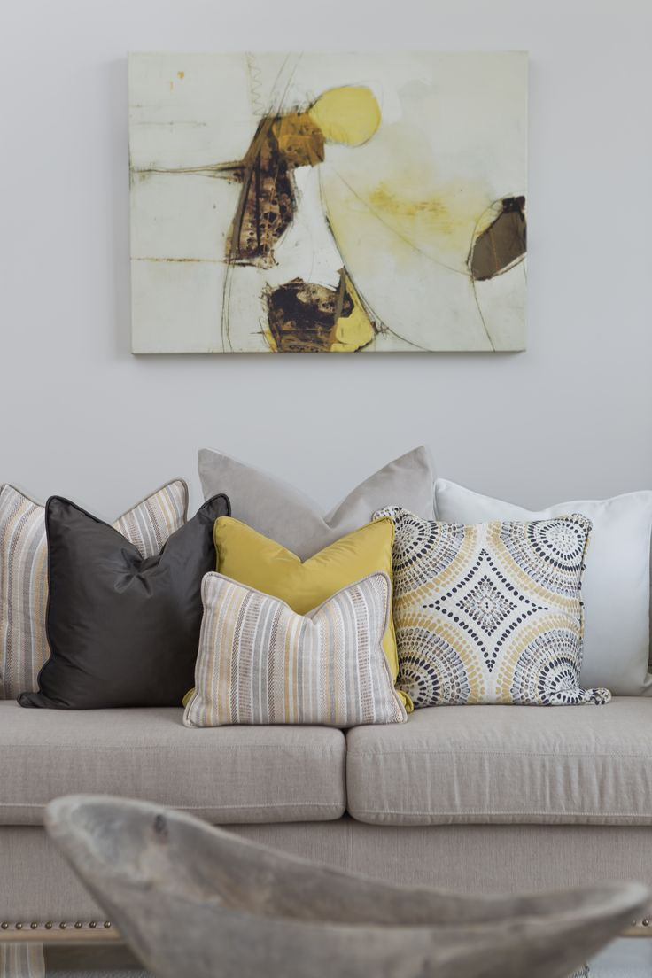 Home Staging | Interior Design Stunning Cushions with Yellow Artwork