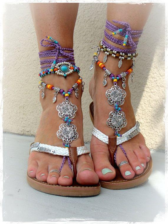 GYPSY púrpura sandalias descalzas Toe Ankle Bracelet Crochet sandalias de la boda sandalias descalzas Tangas Toe tobillo sandalia envoltura Joyería GPyoga
