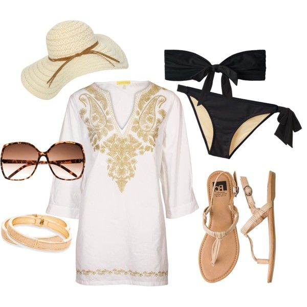 """""""Untitled #41"""" by how2getthelook on Polyvore: Beach Day, Honeymoons Style, Untitled 41, Day Outfit, Beach Style, Black Bikini, Beach Bound, Black Suits, Beach Honeymoons"""