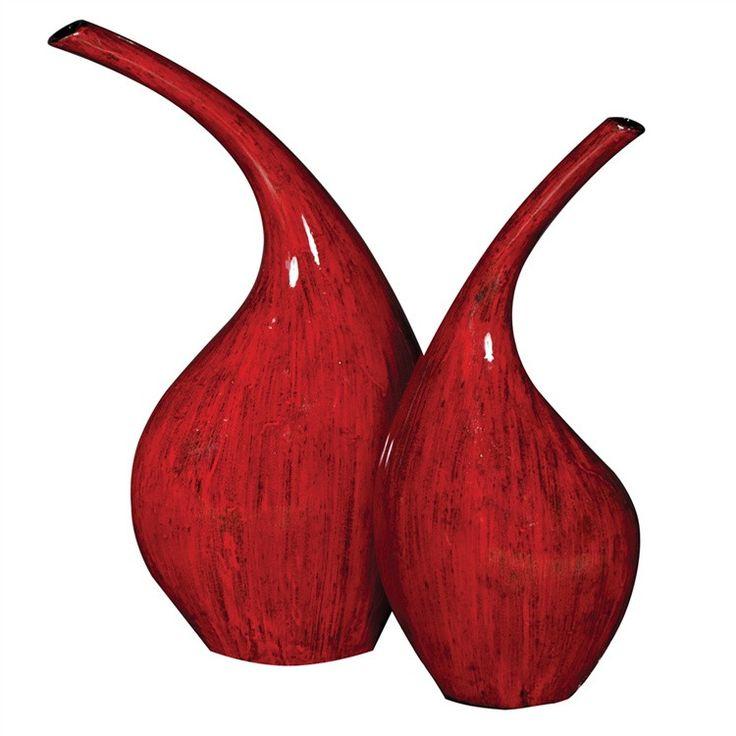 Poppy S/2 Red Contemporary Vase