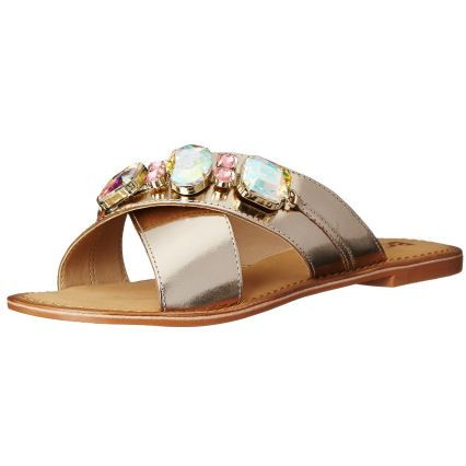BC Footwear Women's Sphynx Dress Sandal, Gold, M US. Slide sandal featuring  crisscross leather straps topped with large faceted beads.