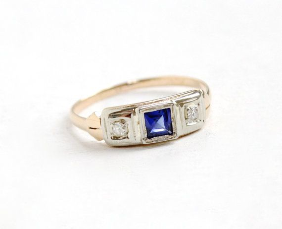 Sale - Antique 14K Yellow & White Gold Diamond and Sapphire Ring - Vintage Art Deco 1920s 1930s Size 7 3/4 Engagement Fine Bridal Jewelry