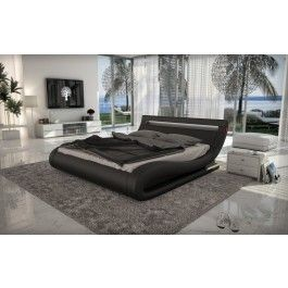 Modrest Corsica - Contemporary Black Leatherette Bed with Headboard Lights -