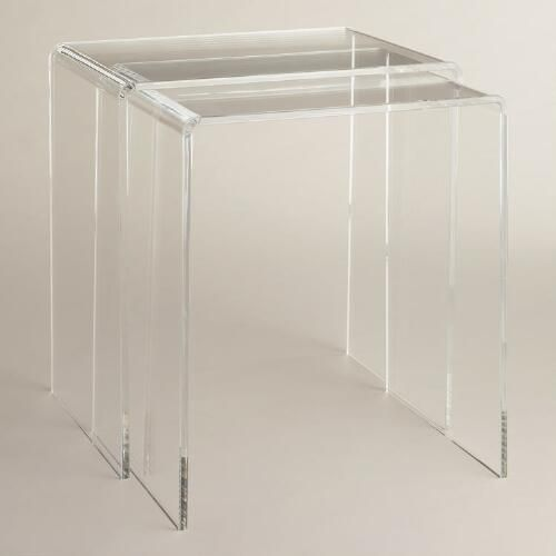 Versatile enough to coordinate with modern or eclectic decor, our thick, clear nesting tables boast a sleek and contemporary appeal. These compact pieces can be stored together or used separately for expanded surface space.